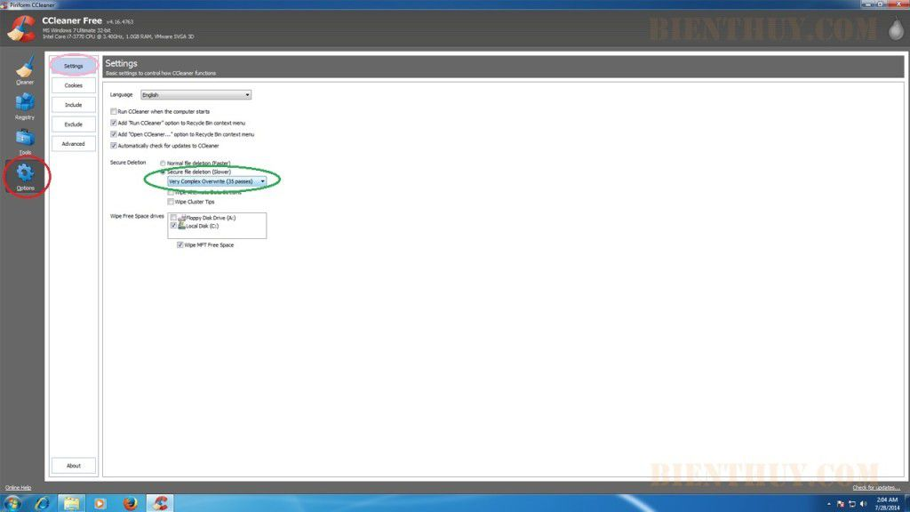 Piriform Ccleaner Setting