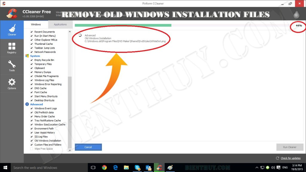 Remove Old Windows Installation Files bằng Ccleaner