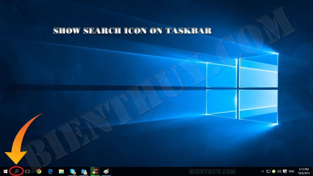 Windows 10 - Show Search Icon on Taskbar
